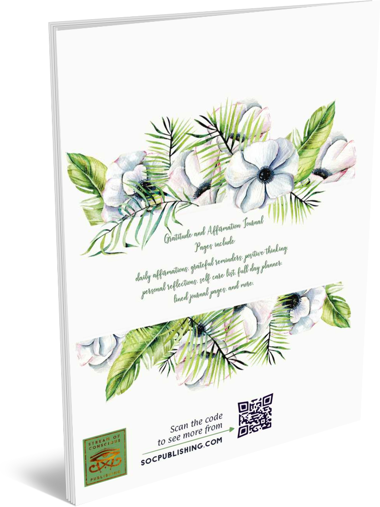 Forever Grateful | A Gratitude and Affirmation Journal back cover view with the book description in green on white book cover, within a floral watercolor painting graphic.